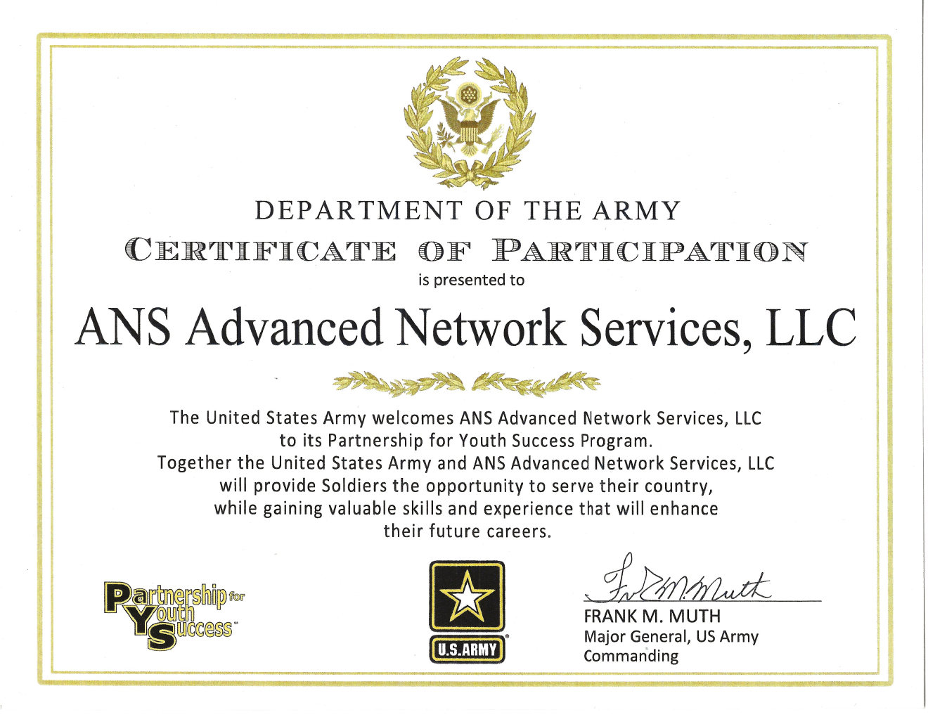 ANS Advanced Network Services, LLC Certificate (Muth)