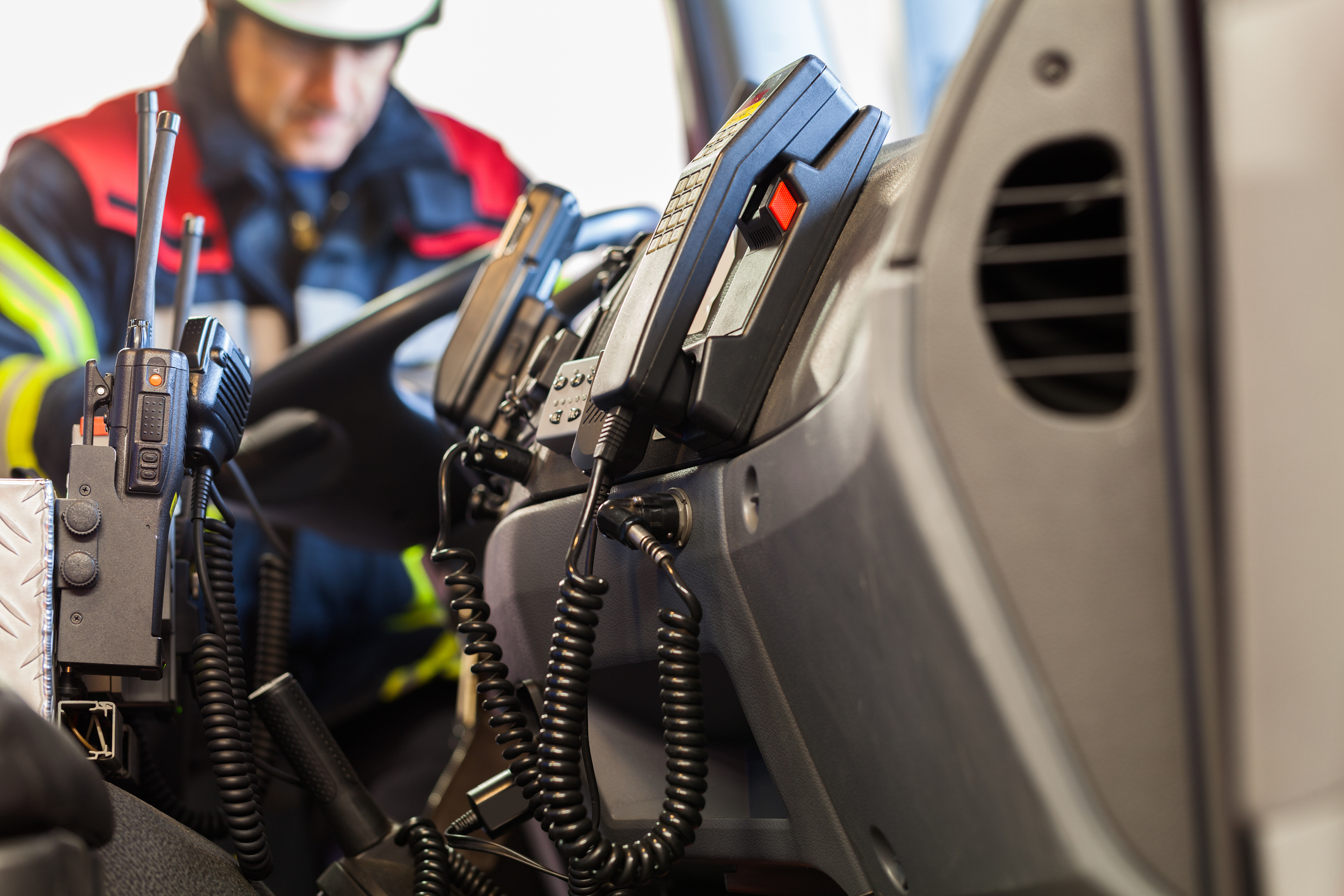 Photo of radios on a fire truck to illustrate how 5G will benefit public safety